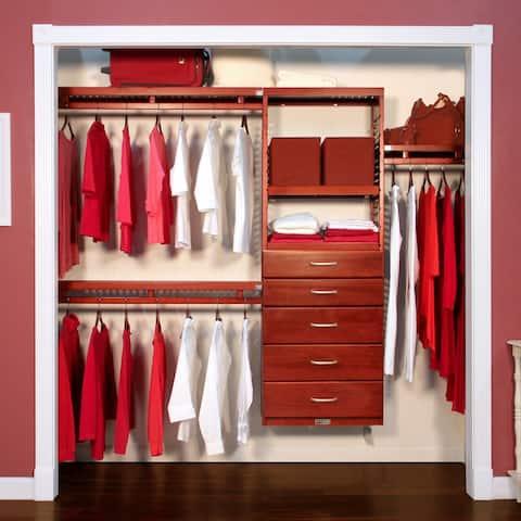 John Louis Home 12in. Deep Solid Wood 5-Drawer Simplicity Closet Organizer Red Mahogany