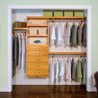 John Louis Home 12in. Deep Solid Wood 5-Drawer Premier Closet Organizer Honey Maple