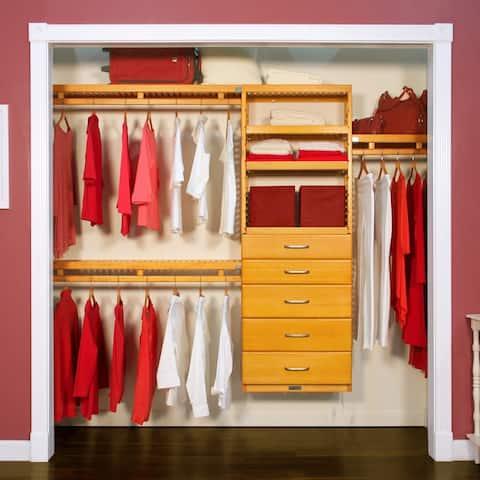 John Louis Home 12in. Deep Solid Wood 5-Drawer Simplicity Closet Organizer Honey Maple