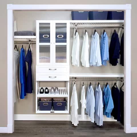 John Louis Home 16in. Deep Solid Wood 2-Drawer/Doors Woodcrest Deluxe Closet Organizer White