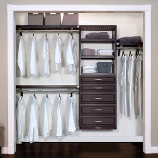 John Louis Home 12in. Deep Solid Wood 5-Drawer Woodcrest Premier Closet Organizer Espresso