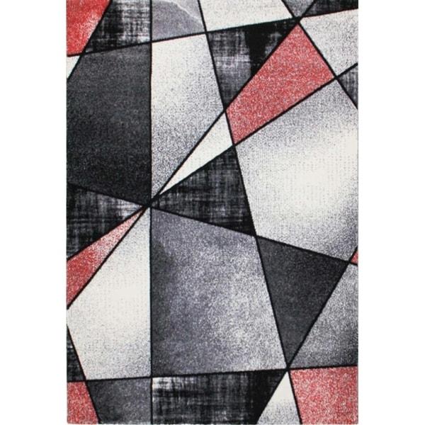 "LaDole Rugs Beautiful Geometric Area Rug in Red Black White 3'9""x5'2"""