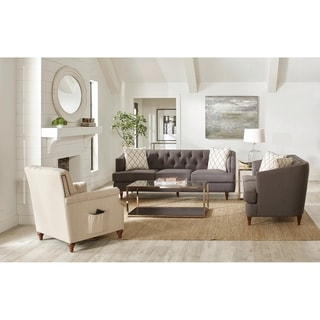 Shelby Grey and Beige Upholstered 3-piece Living Room Sets