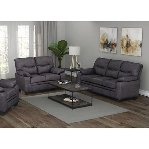 Meagan Charcoal Upholstered 2-piece Living Room Set