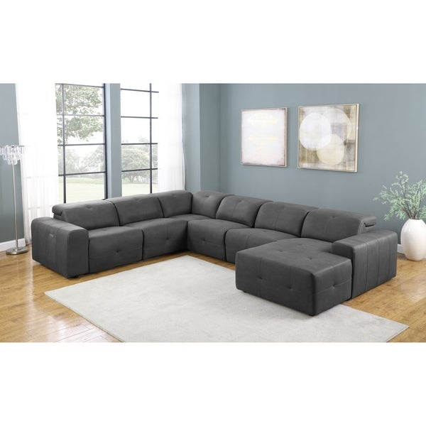 Eton Grey Upholstered 6-Piece Power Sectional