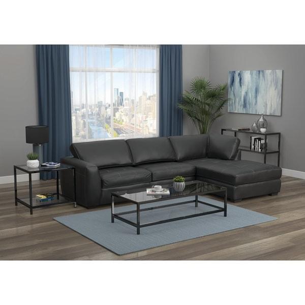 Ontario Black Upholstered Cushion Back Sectional