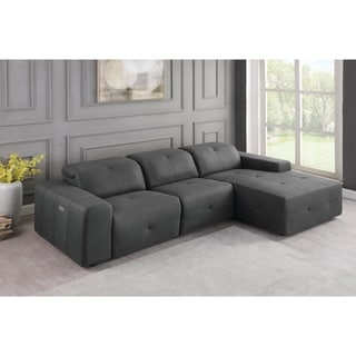 Eton Grey Upholstered 3-Piece Power Sectional