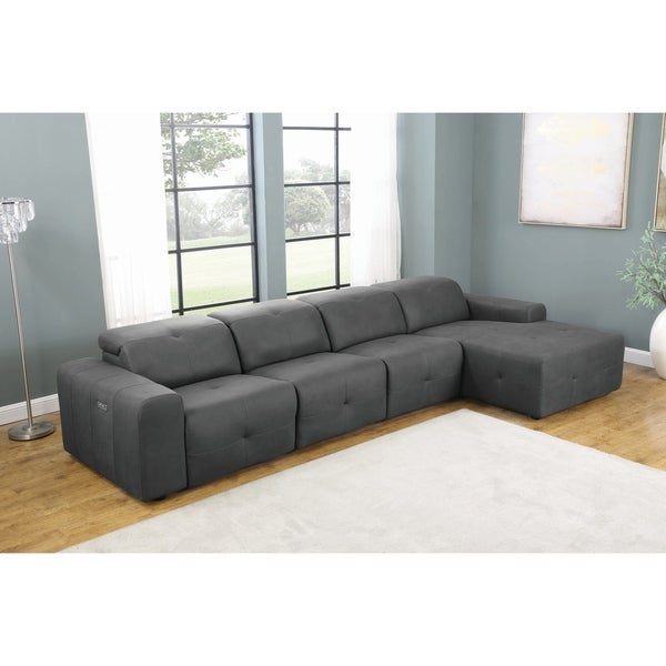 Eton Grey Upholstered 4-Piece Power Sectional