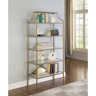 Gold 5-tier Tempered Glass Shelves Bookcase