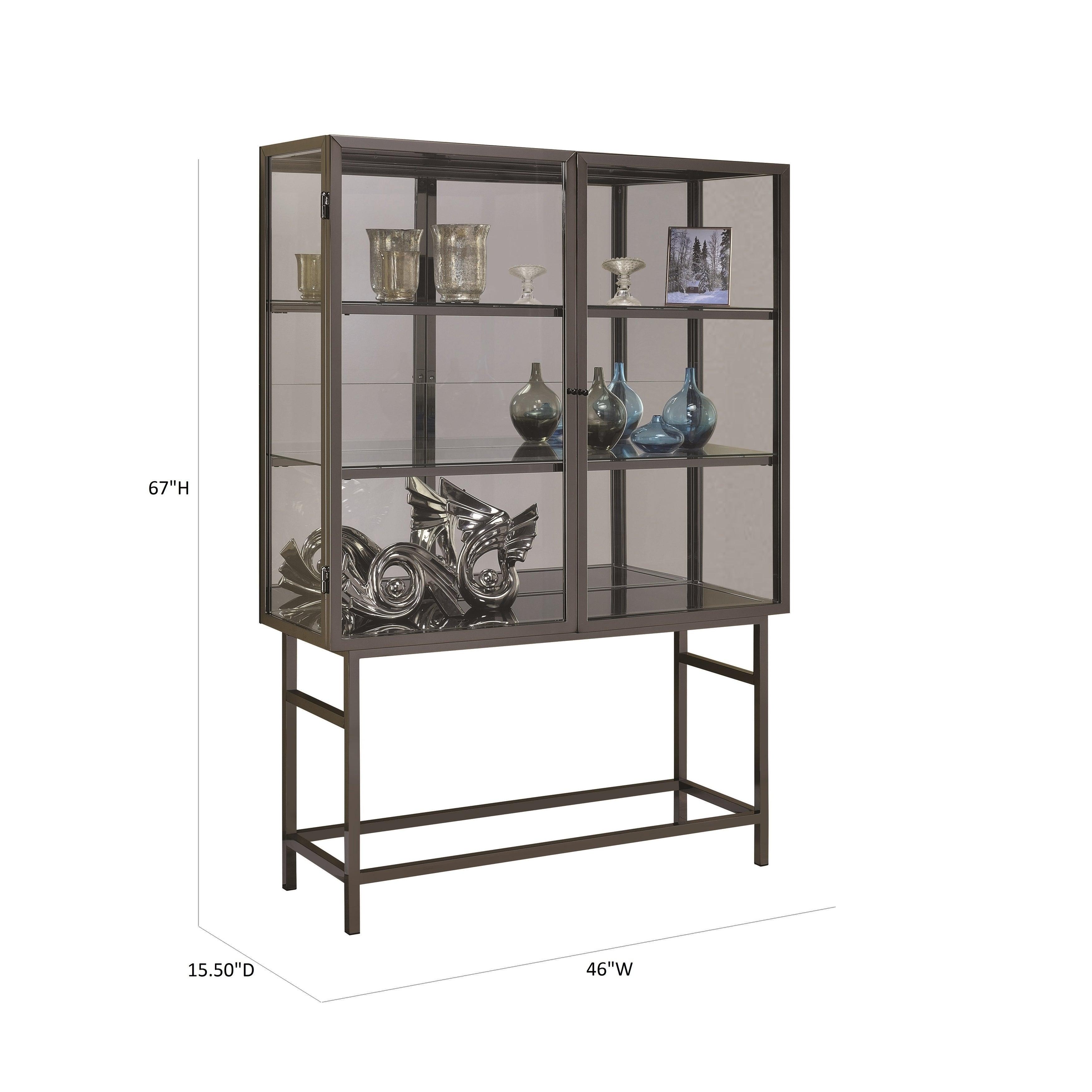 Brush Black Nickel 2 Door Curio Cabinet