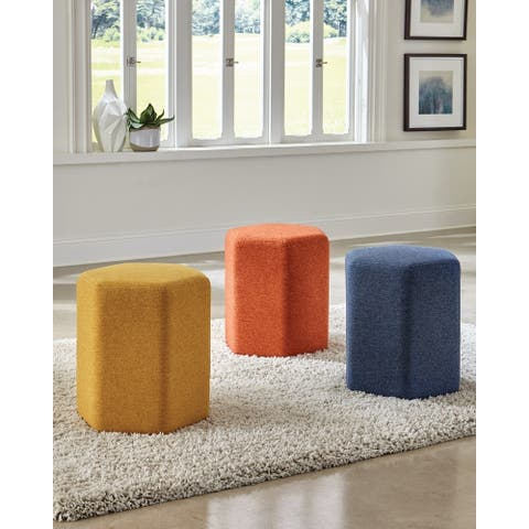 Hexagonal Upholstered Stool