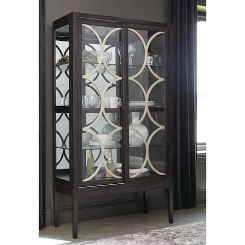 Black and Clear 2-door Rectangular Curio Cabinet
