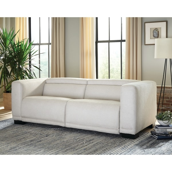 Maggie Beige Upholstered Power Sofa. Opens flyout.