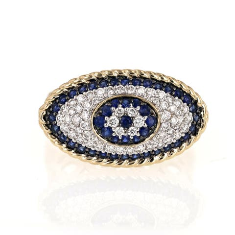 14k Yellow Gold 1 TDW Diamond and Blue Sapphire Eye Evil Ring by Beverly Hills Charm