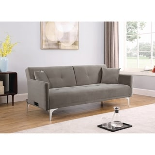 Blythe Taupe Flared Arm Upholstered Sofa Bed with Power Outlet