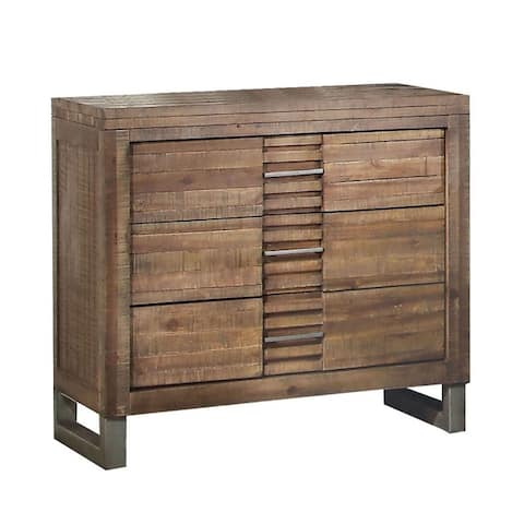 Modern Designs Reclaimed Oak Wood 3-Drawer Nightstand