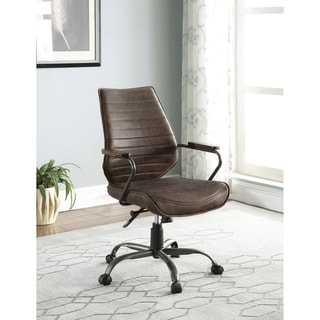 Brown and Light Black 5-wheel Adjustable Height Office Chair