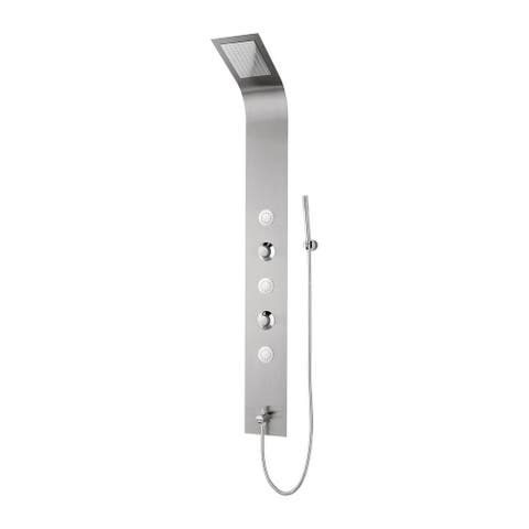 BOANN 3-Jet Full Body Shower System with LED Lights and Spray Wand in Brushed Steel - N/A