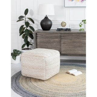 Link to The Curated Nomad Ranelagh Beige Rhombus 22-inch Square Pouf Similar Items in Decorative Accessories