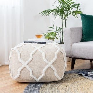 Khaki Jute Moroccan 24-inch Square Pouf