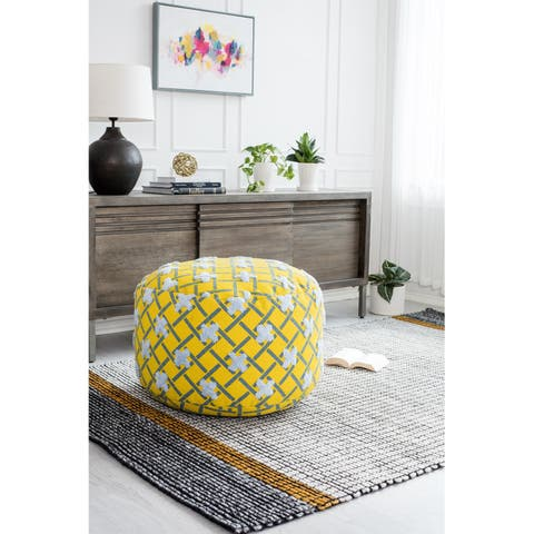 Yellow and Blue Oversized Pouf