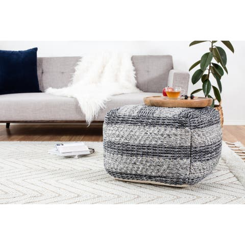 The Curated Nomad Ranelagh Grey Striped Handwoven 24-inch Square Pouf