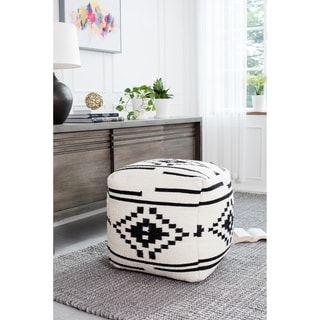 Black and White Tribal 20-inch Square Pouf