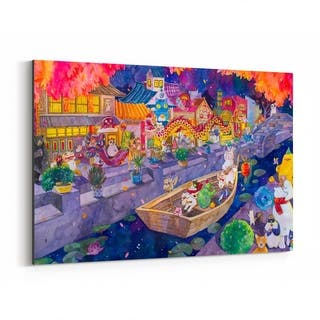 Noir Gallery Chinese New Year Cats Parade Canvas Wall Art Print