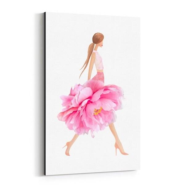 Noir Gallery Feminine Fashion Floral Dress Canvas Wall Art Print