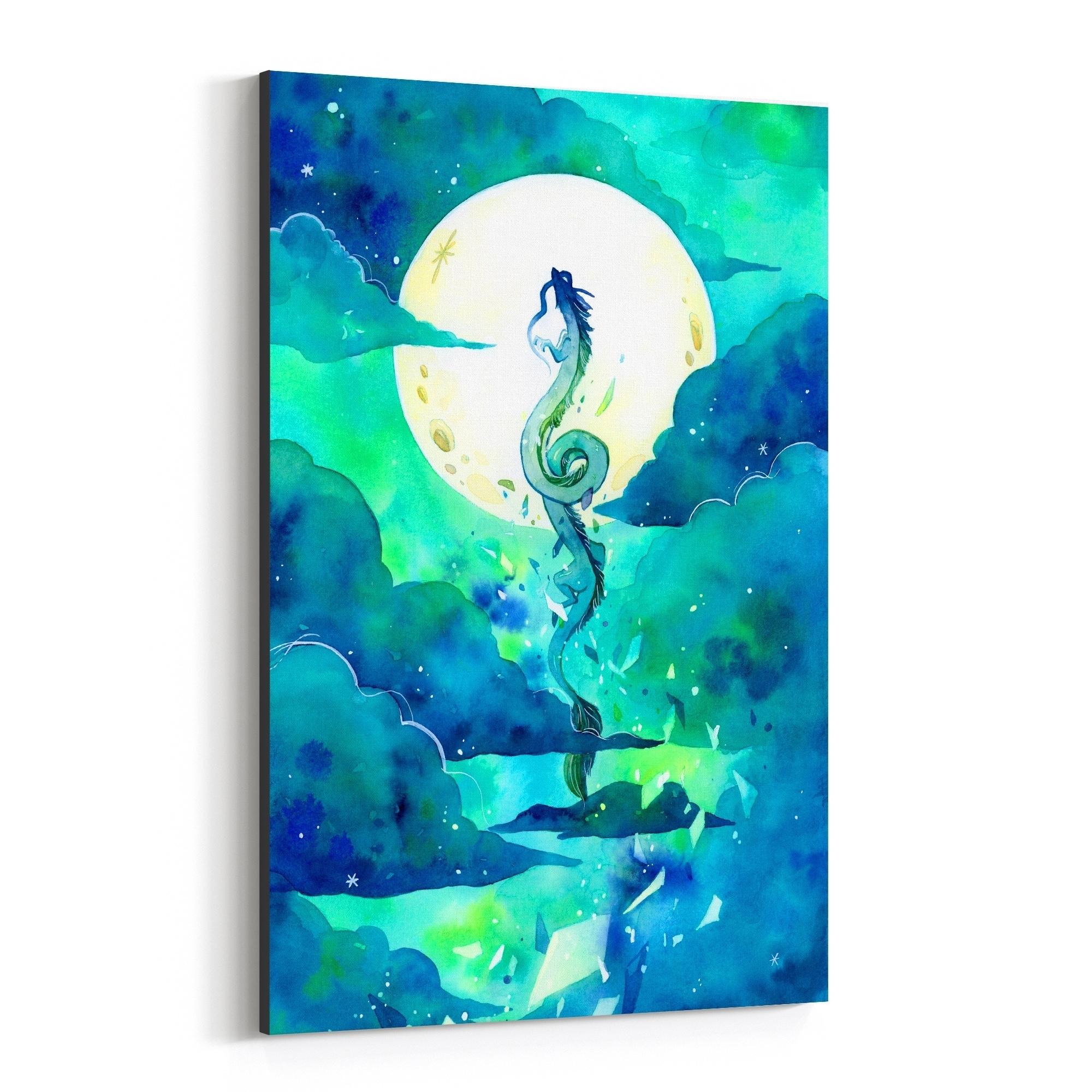 Shop Noir Gallery Flying Dragon Haku Spirited Away Canvas Wall Art Print Overstock 29361474