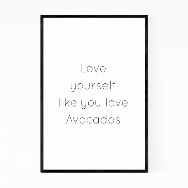 Noir Gallery Avocado Love Typography Quote Framed Art Print