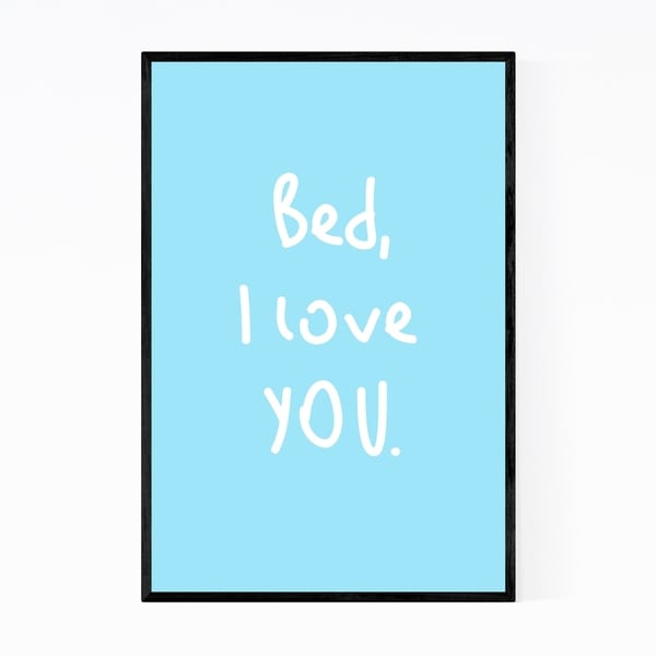 Noir Gallery Bed I Love You Lazy Typography Framed Art Print