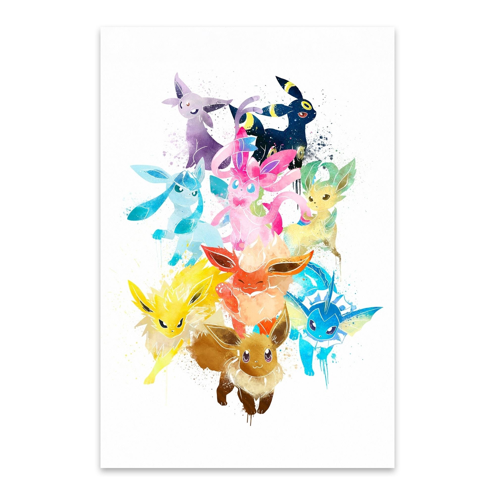 - Shop Noir Gallery Eevee Pokemon Painting Metal Wall Art Print - Overstock -  29362195