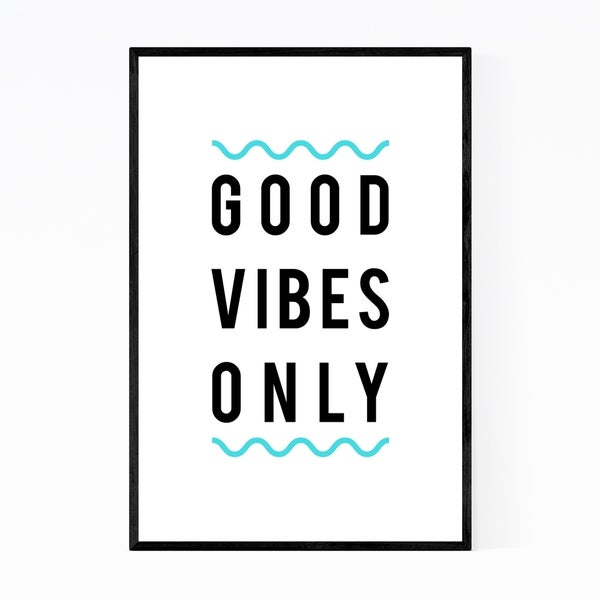 Noir Gallery Good Vibes Only Typography Framed Art Print