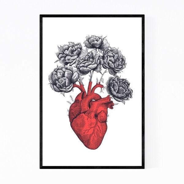 Noir Gallery Heart with Peonies Floral Framed Art Print