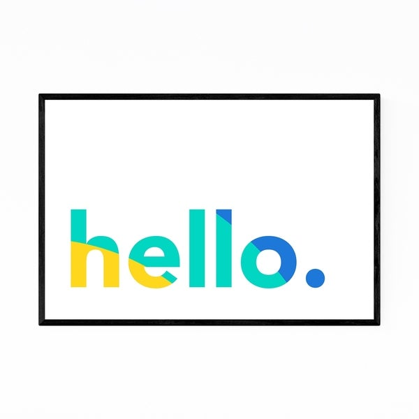 Noir Gallery Hello Word Typography Colorful Framed Art Print