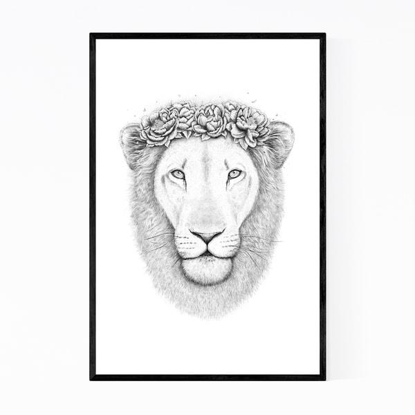 Noir Gallery Lion Animal Floral Illustration Framed Art Print