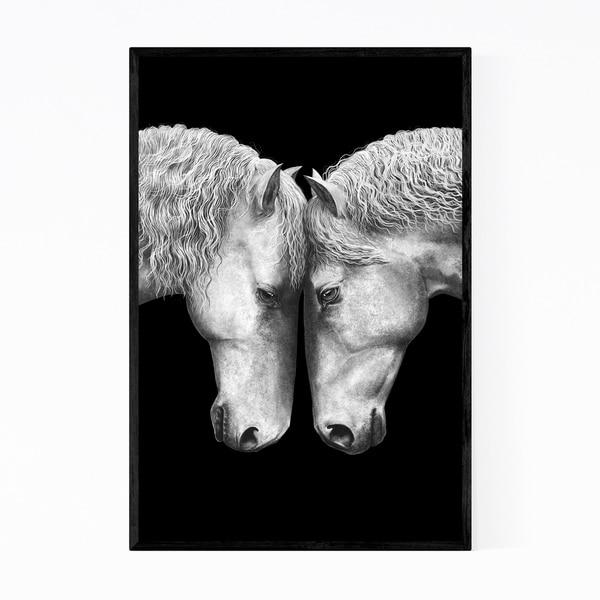 Noir Gallery Horses Animal Illustration Framed Art Print