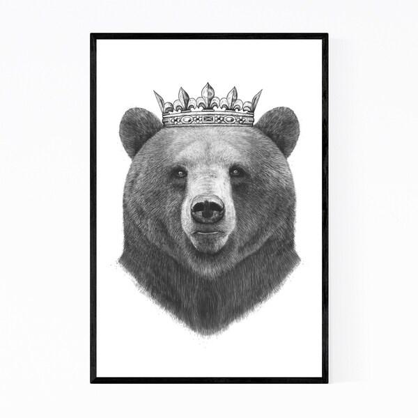 Noir Gallery Bear Animal with Crown Funny Framed Art Print