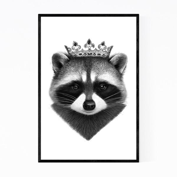 Noir Gallery Raccoon Animal with Crown Funny Framed Art Print