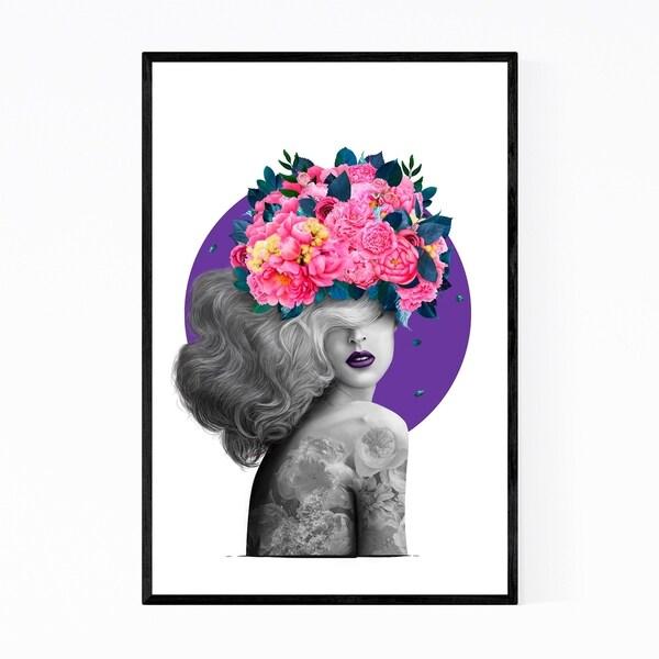 Noir Gallery Floral Botanical Girl Portrait Framed Art Print