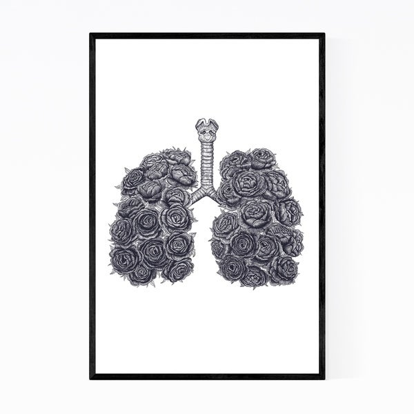 Noir Gallery Lungs with Peonies Floral Botanical Framed Art Print