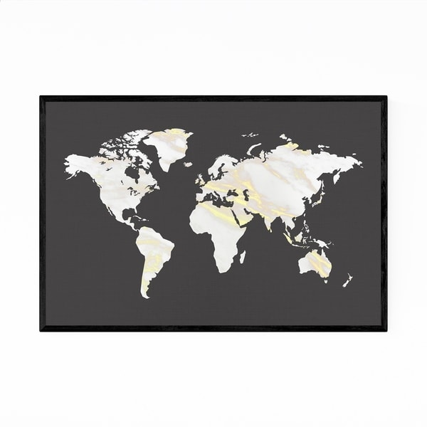 Noir Gallery Marble Gold World Map Framed Art Print