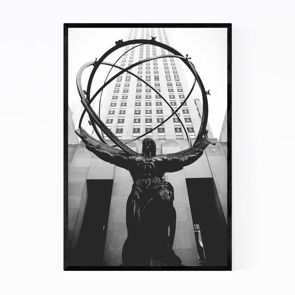 Noir Gallery Atlas Statue Rockefeller New York Framed Art Print