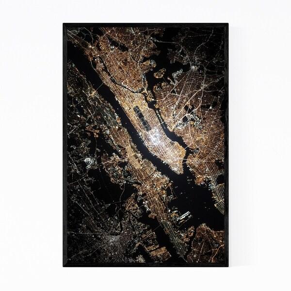 Noir Gallery New York City Night Aerial Map Framed Art Print