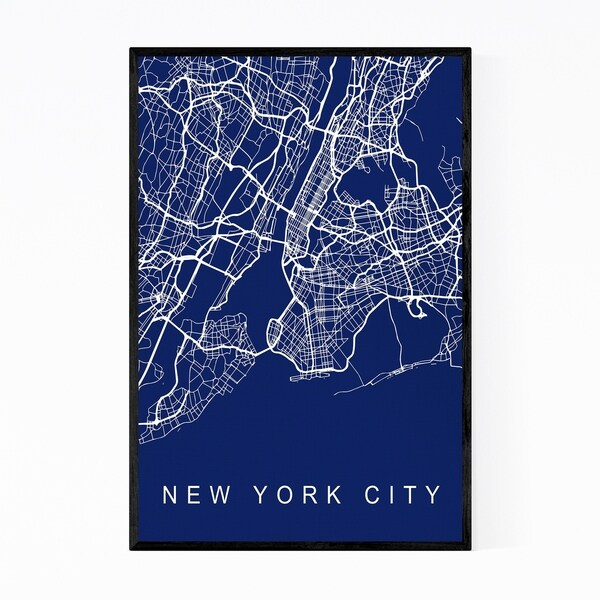 Noir Gallery New York City Urban Street Map Framed Art Print