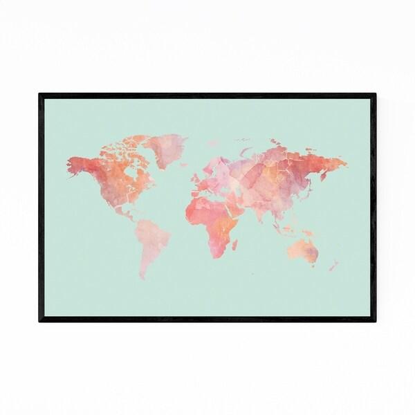 Noir Gallery Pink Marble World Map Framed Art Print