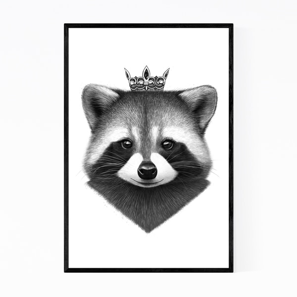 Noir Gallery Raccoon Animal with Crown Funny Framed Art Print