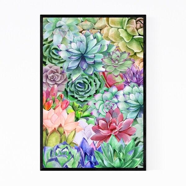 Noir Gallery Succulent Floral Botanical Pattern Framed Art Print