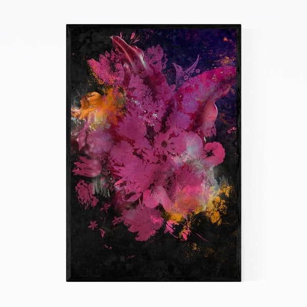 Noir Gallery Red Flower Botanical Abstract Framed Art Print